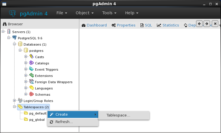 How to create a tablespace for PostgreSQL database : click