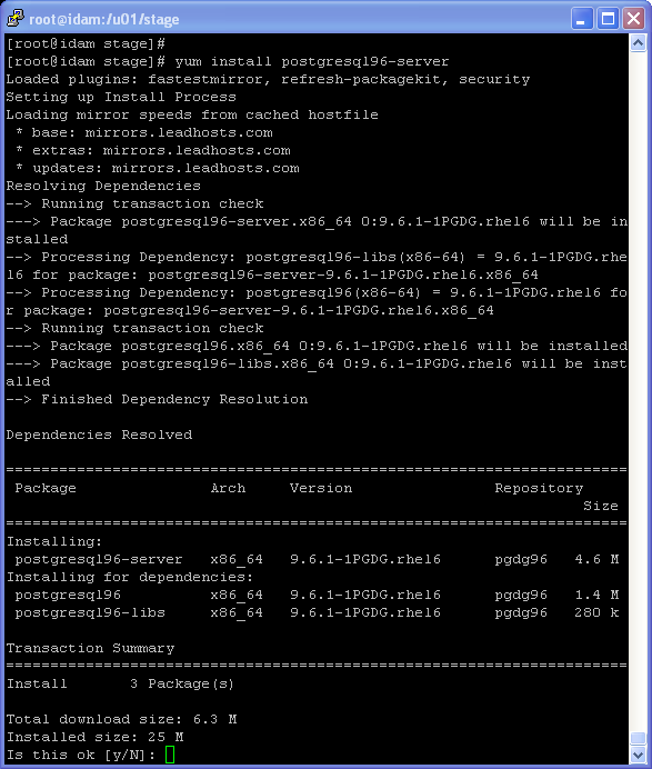 PostgreSQL installation on Linux (with Internet connection - yum) : yum install