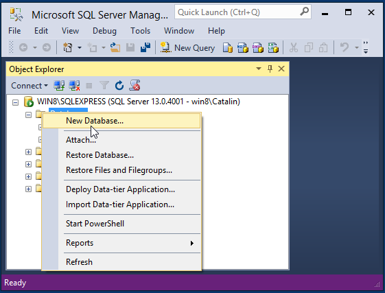 Create MySQL database: ssms