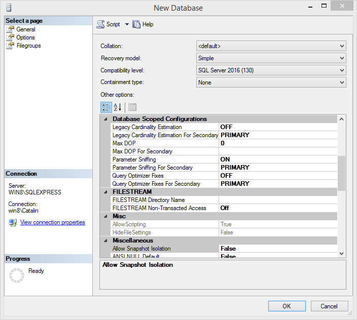 Create MySQL database: options