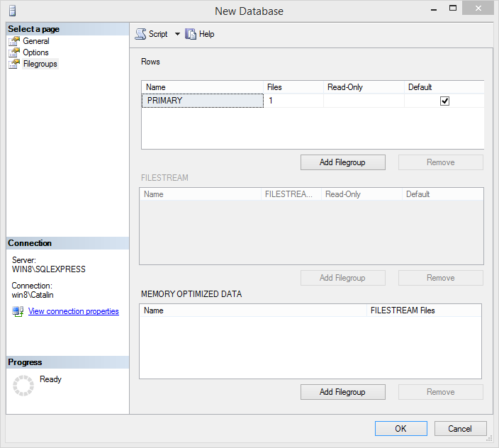 Create MySQL database:  filegroup