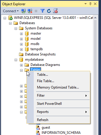 Create MySQL table: click right