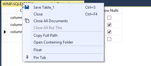 Create MySQL table: add columns save