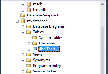 Create MySQL table: view table