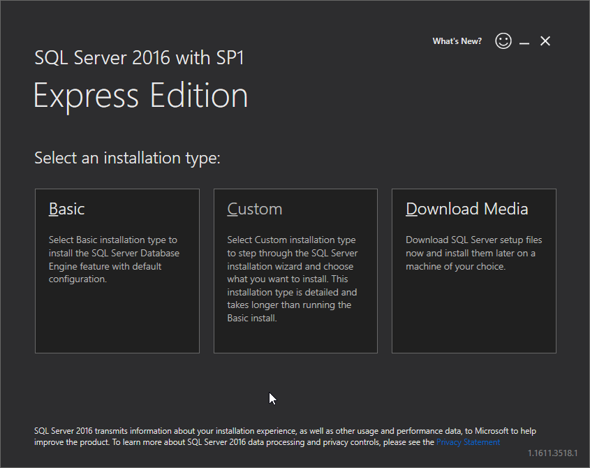 Microsoft SQL Server 2016 Express installation: basic