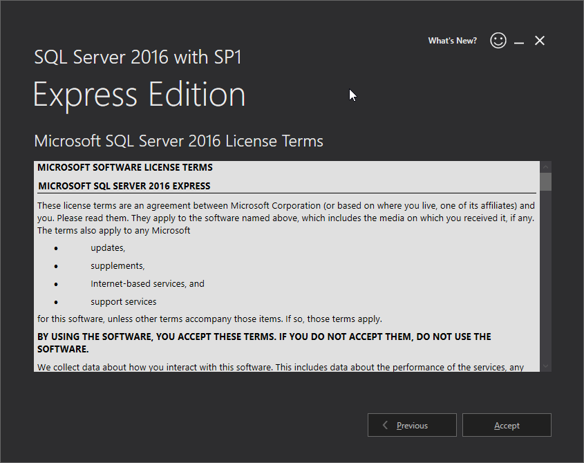 Microsoft SQL Server 2016 Express installation: accept