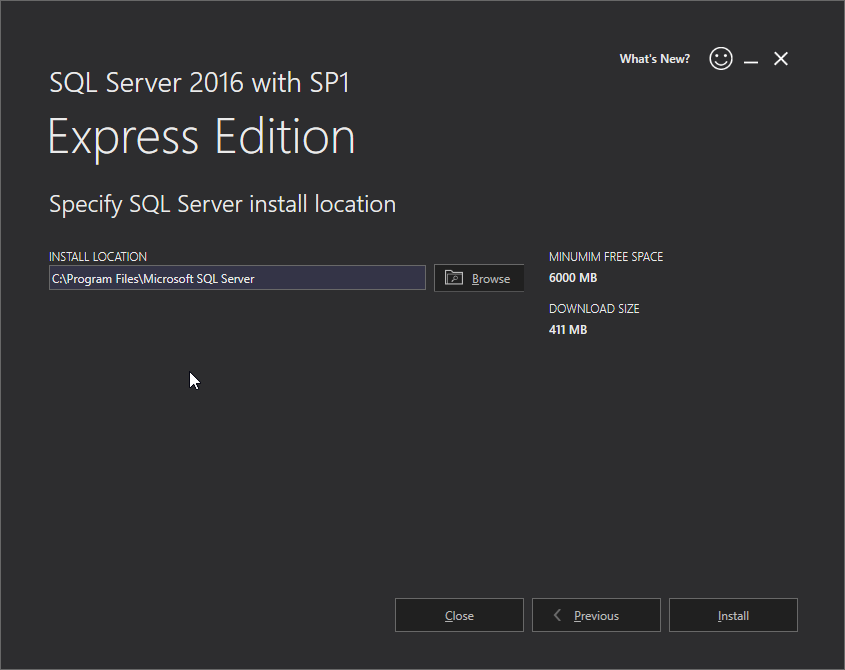 Microsoft SQL Server 2016 Express installation: location