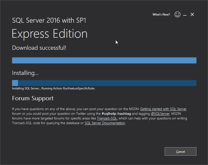 Microsoft SQL Server 2016 Express installation: download & install