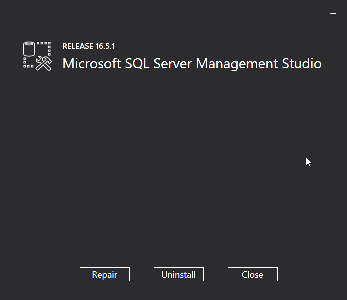 Uninstall Microsoft SQL Server Management Studio (SSMS): choose