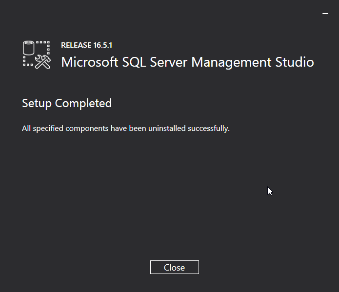 Uninstall Microsoft SQL Server Management Studio (SSMS): uninstalled