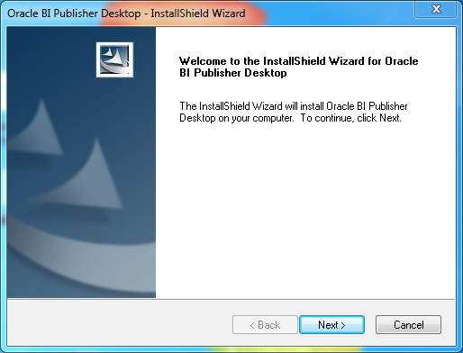 Install Oracle BI Publisher Desktop for Word (Microsoft Office) : wizard