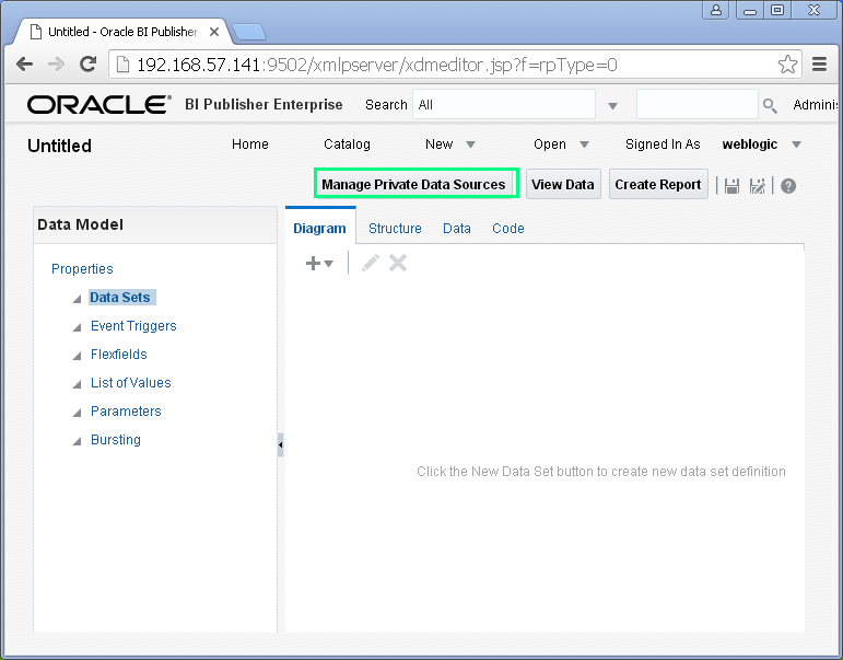 Create JDBC Data Source for Oracle BI Publisher : data model