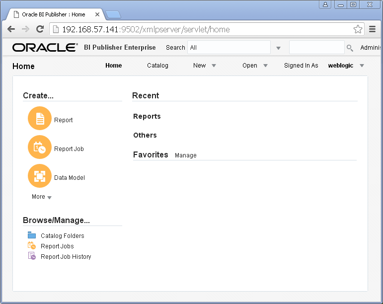 Create Data Model for Oracle BI Publisher : home