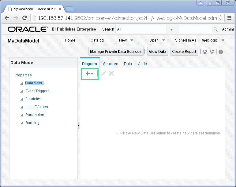 Create SQL Query Data Set for Oracle BI Publisher : new