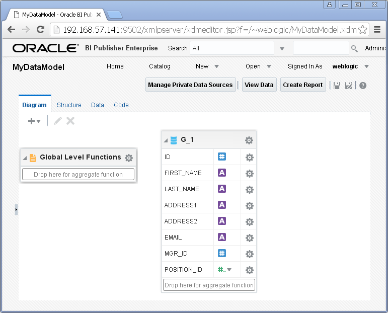 Create SQL Query Data Set for Oracle BI Publisher : result