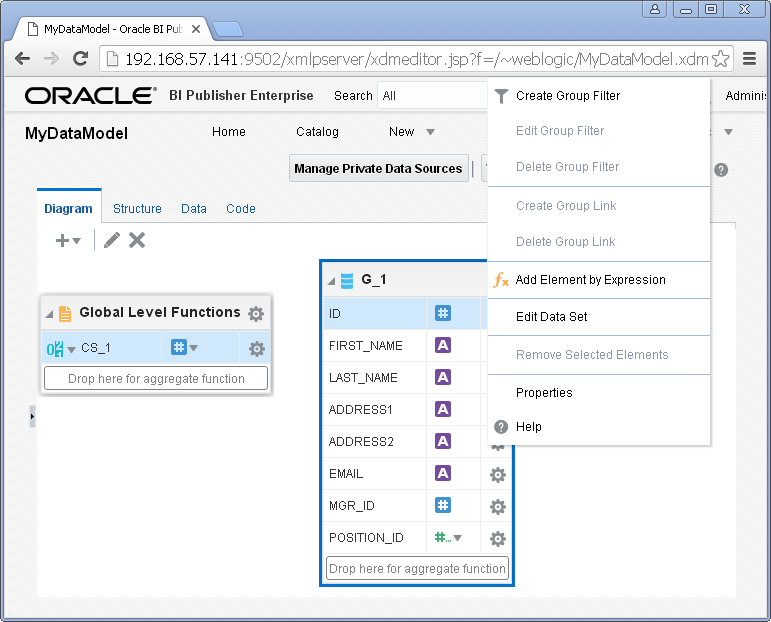 Create SQL Query Data Set for Oracle BI Publisher : modify
