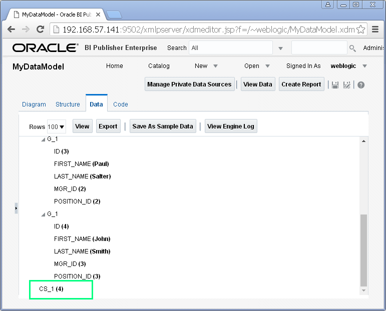 Create SQL Query Data Set for Oracle BI Publisher : data