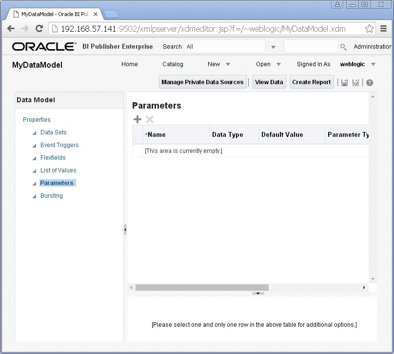 Add/ Create Parameters into a Data Model for Oracle BI Publisher : new