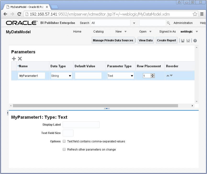 Add/ Create Parameters into a Data Model for Oracle BI Publisher : add