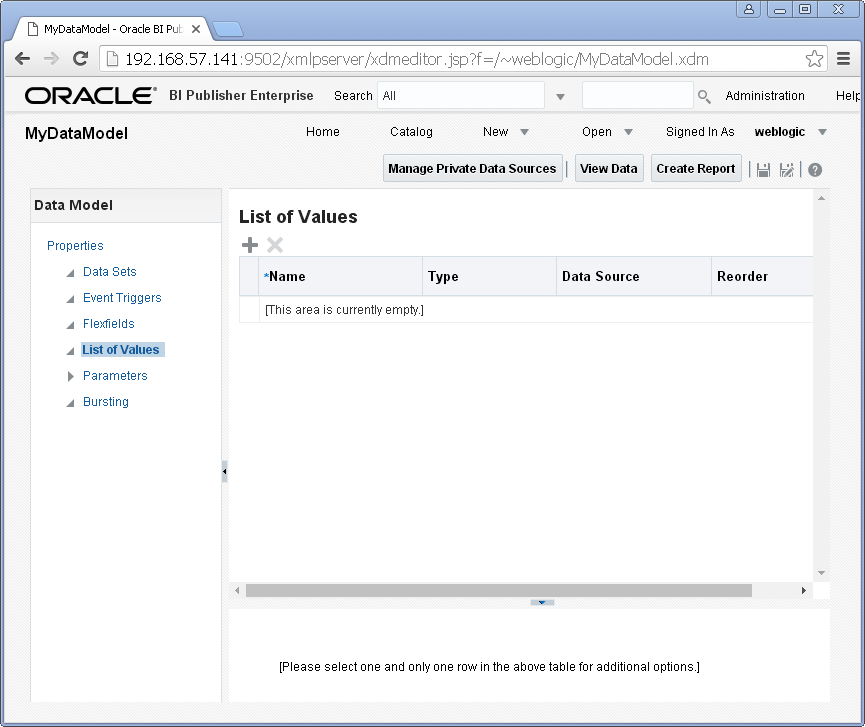 Add/ Create List of Values into a Data Model for Oracle BI Publisher : new