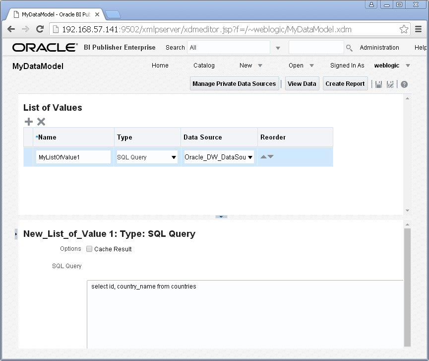 Add/ Create List of Values into a Data Model for Oracle BI Publisher : select