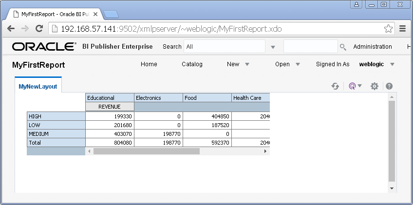 create simple / my first report with Oracle BI Publisher : open