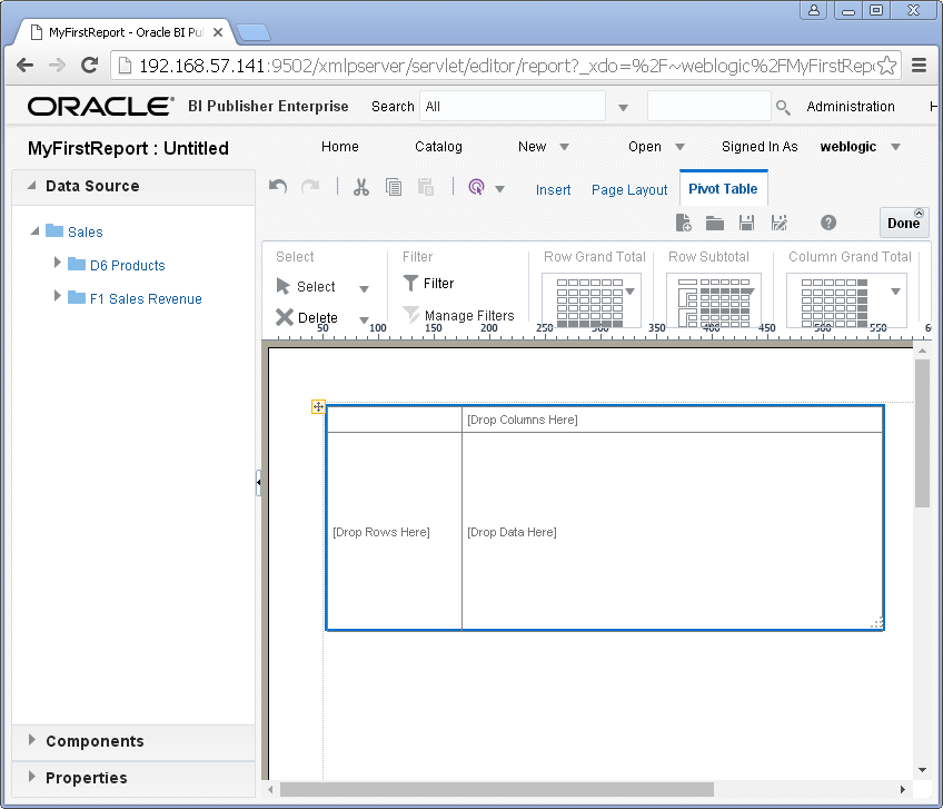 create simple / my first report with Oracle BI Publisher : pivot table