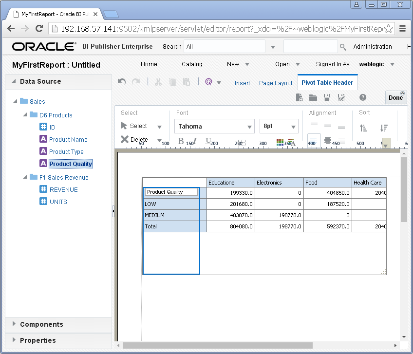 create simple / my first report with Oracle BI Publisher : pivot table created