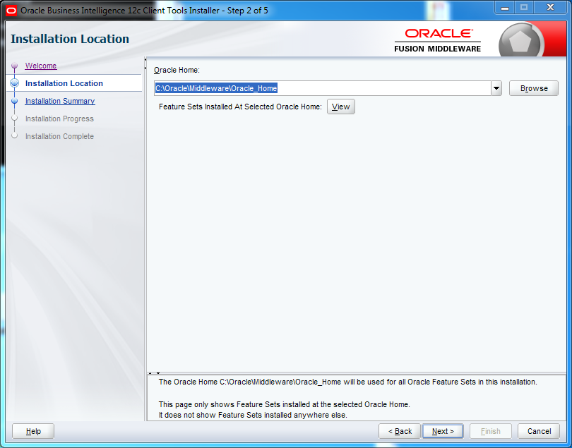 OBIEE 12c Client Tool Installation : installation location