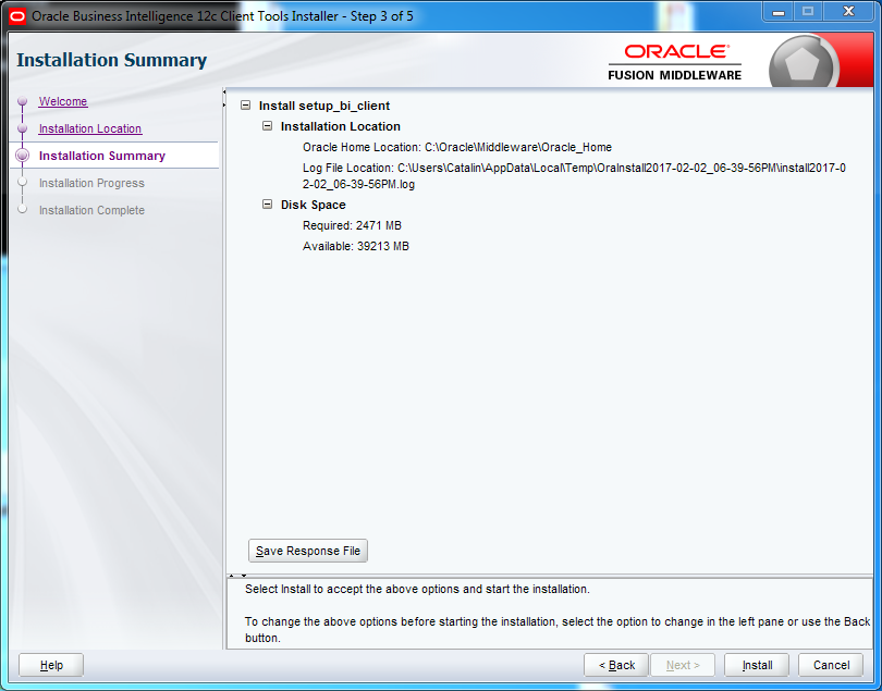 OBIEE 12c Client Tool Installation : summary