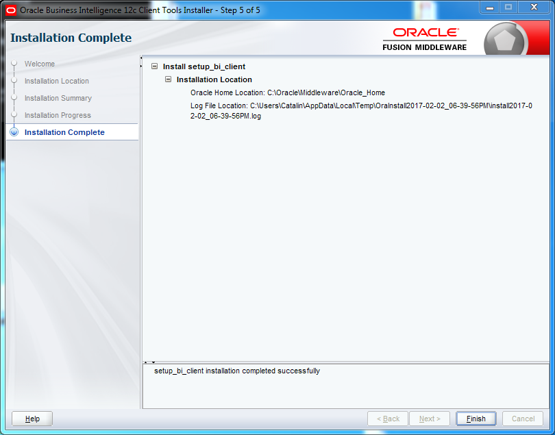 OBIEE 12c Client Tool Installation : complete