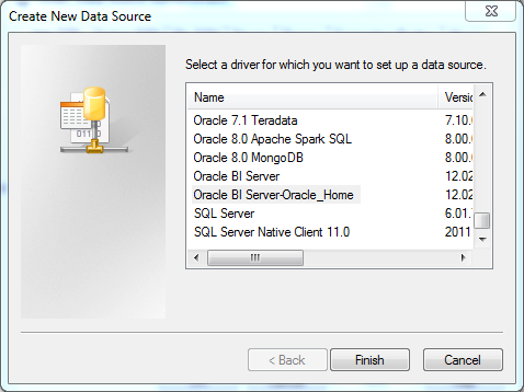 ODBC Data Source creation for OBIEE 12c Client Tool : new