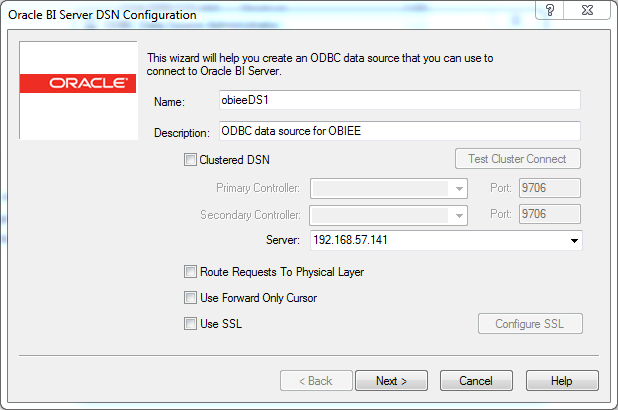 ODBC Data Source creation for OBIEE 12c Client Tool : name