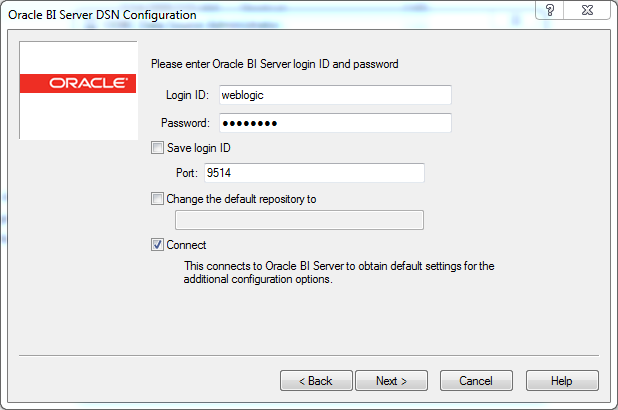 ODBC Data Source creation for OBIEE 12c Client Tool : login