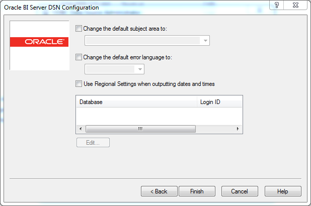 ODBC Data Source creation for OBIEE 12c Client Tool : default