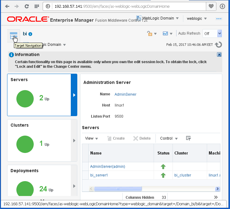 Enable Disable Oracle BI (OBIEE) Server cache: target navigation
