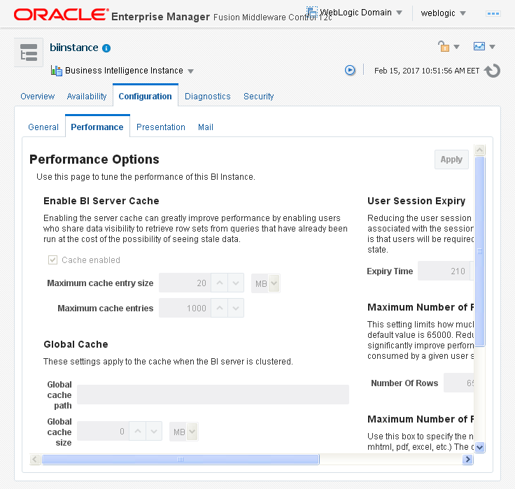 Enable Disable Oracle BI (OBIEE) Server cache: performance option