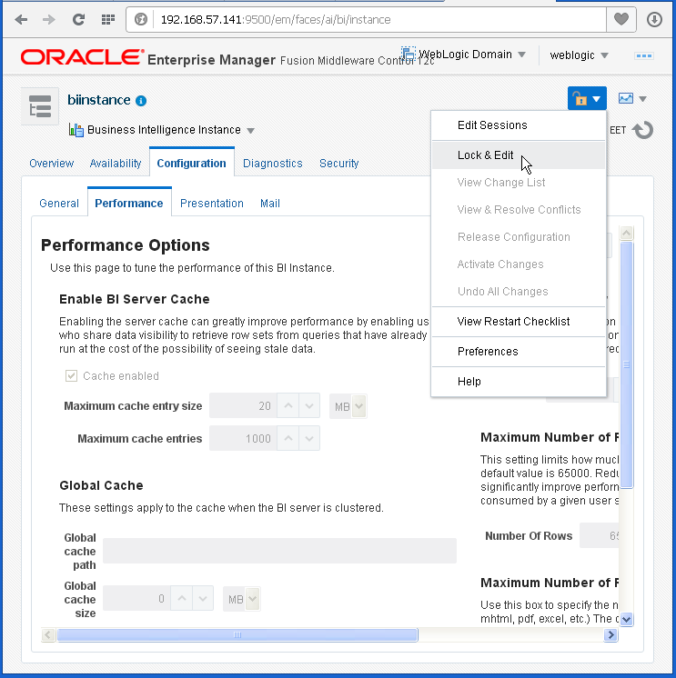 Enable Disable Oracle BI (OBIEE) Server cache: lock and edit