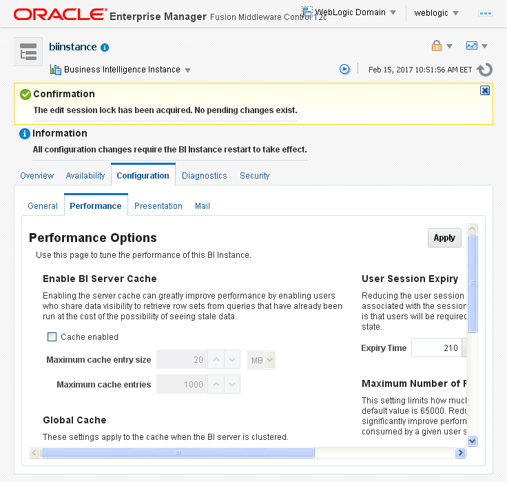 Enable Disable Oracle BI (OBIEE) Server cache: edit
