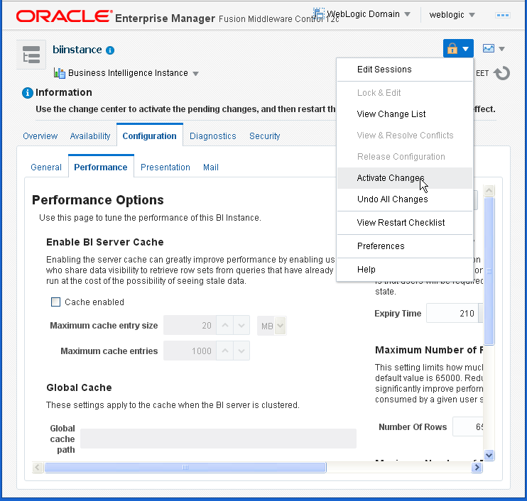 Enable Disable Oracle BI (OBIEE) Server cache: activate changes