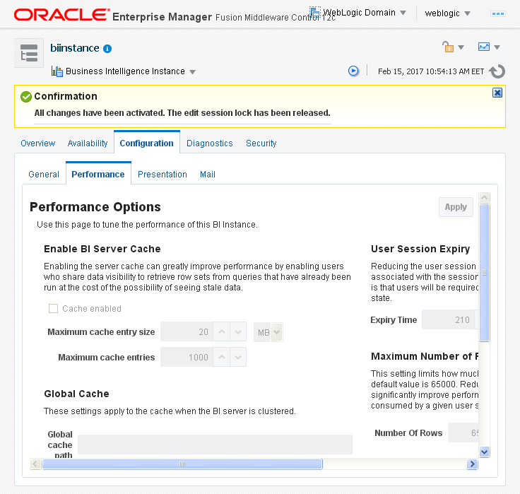 Enable Disable Oracle BI (OBIEE) Server cache: message
