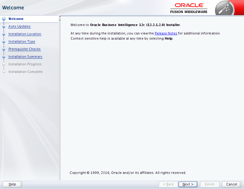 Oracle Business Intelligence 12c Enterprise Edition Installation : welcome