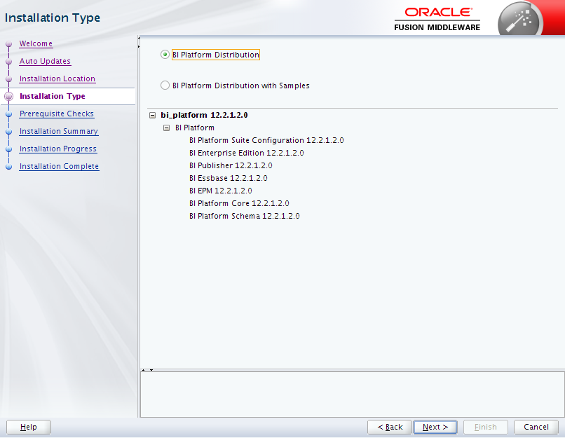 Oracle Business Intelligence 12c Enterprise Edition Installation : installation type