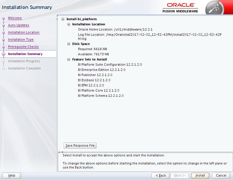Oracle Business Intelligence 12c Enterprise Edition Installation : summary