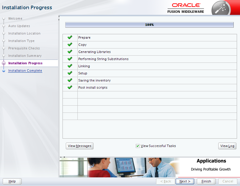 Oracle Business Intelligence 12c Enterprise Edition Installation : installation progress