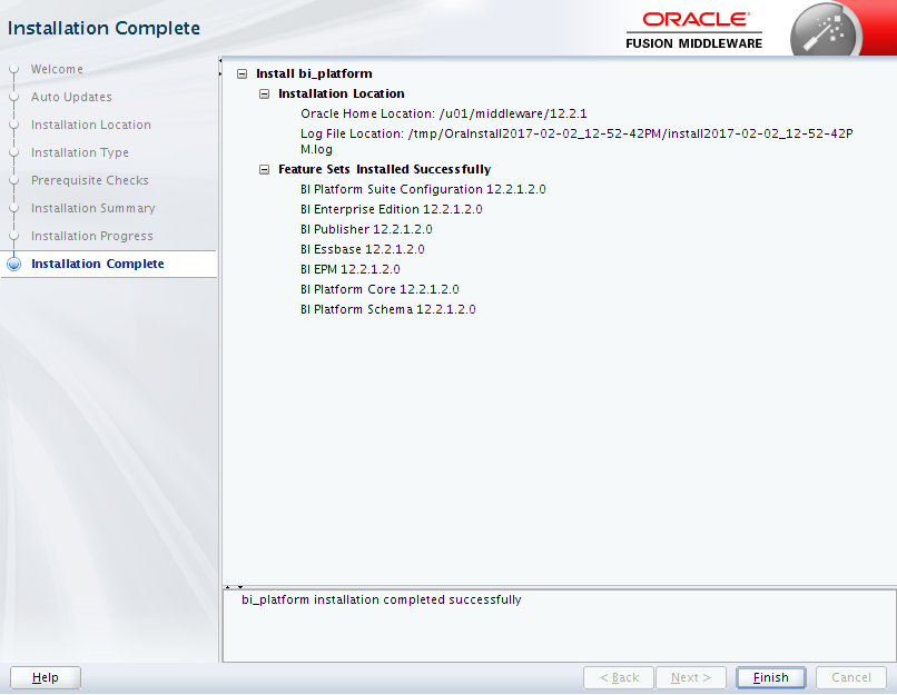 Oracle Business Intelligence 12c Enterprise Edition Installation : complete