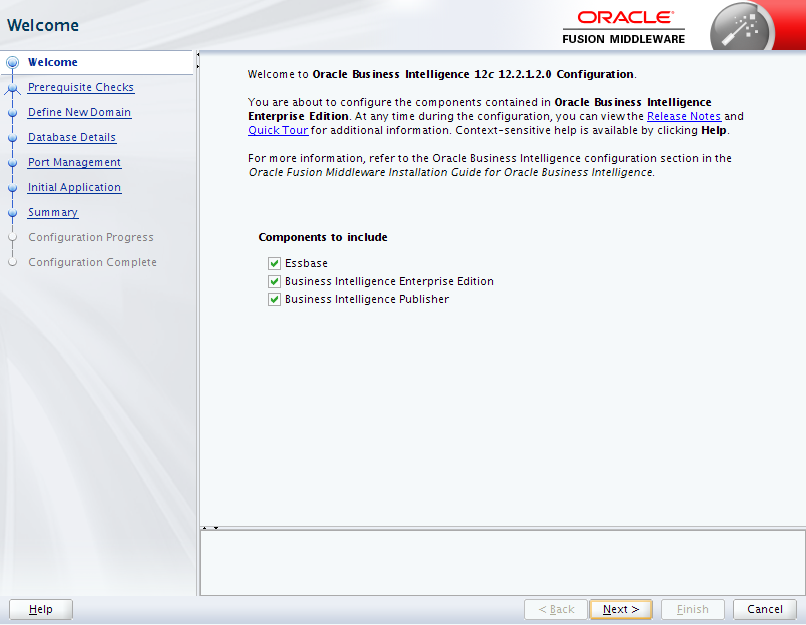 Oracle Business Intelligence 12c Enterprise Edition Configuration : components to include