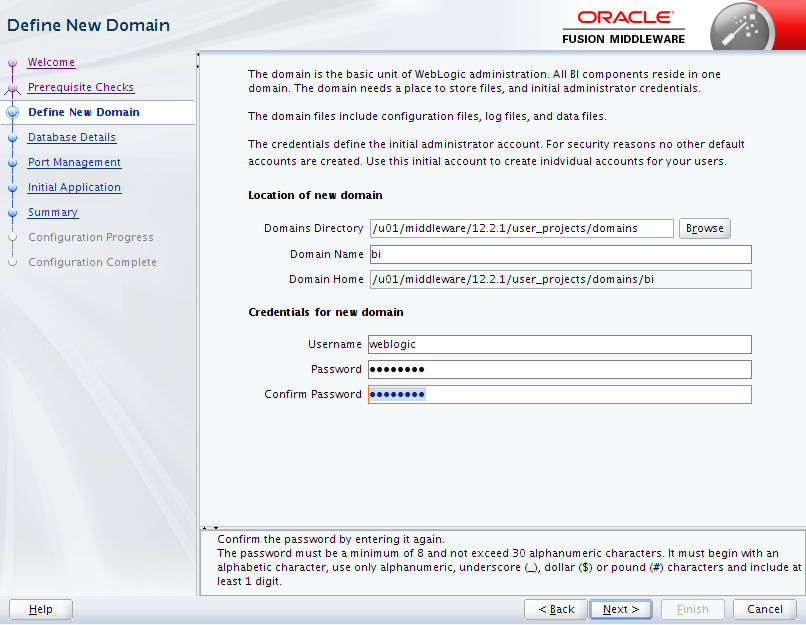 Oracle Business Intelligence 12c Enterprise Edition Configuration : define new domain