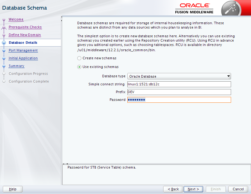 Oracle Business Intelligence 12c Enterprise Edition Configuration : database details