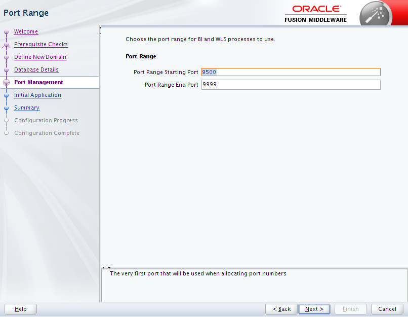 Oracle Business Intelligence 12c Enterprise Edition Configuration : port range